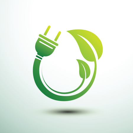 green power: Green eco power plug design with Green leave, vector illustration