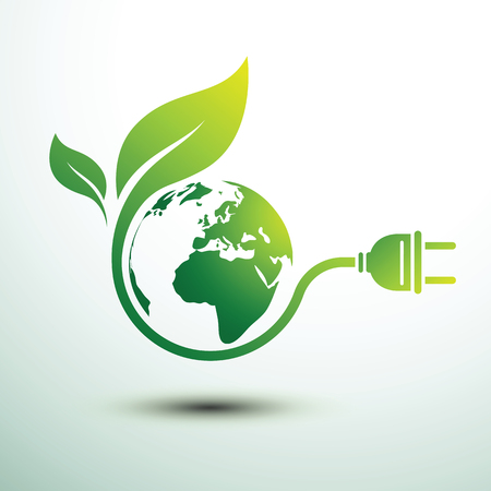 Green eco power plug design with green earth