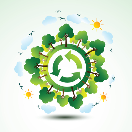 Ecology concept with recycle logo and trees