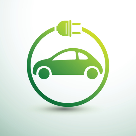 Concept de voiture électrique symbole de lecteur vert, illustration vectorielle