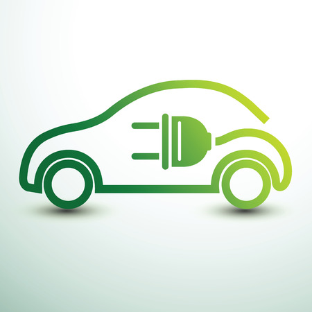 Electric car concept green drive symbol,vector illustration Çizim