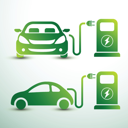 Electric car and Electrical charging station oncept green drive symbol, Vector illustration