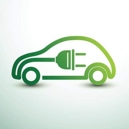 Conceito de carro elétrico símbolo de unidade verde, ilustração vetorial Ilustración de vector