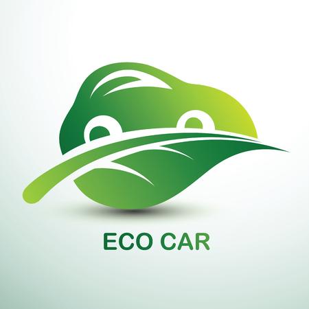 Eco car concept green drive with leaf symbol, vector illustration