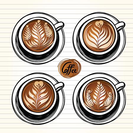 Latte art coffee.