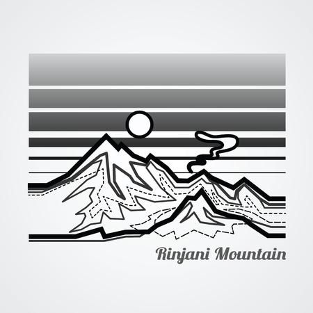 Graphic of rinjani mountain.