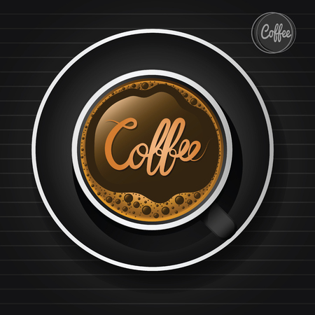Coffee cup with character ,top view,vector illustration