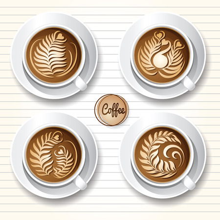 Set of latte art coffee design ,top view,vector illustration