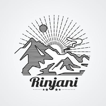 Graphic of rinjani mountain (volcano) , lombok island indonesia ,vector illustration