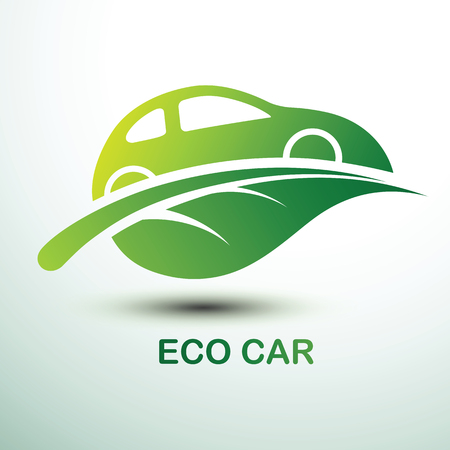 Eco car concept green drive with leaf symbol.