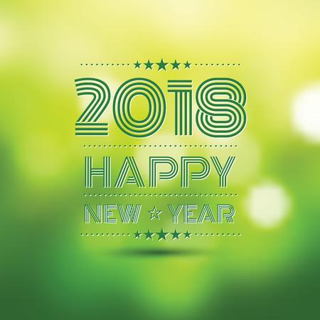 happy new year 2018 in orange bokeh pattern.