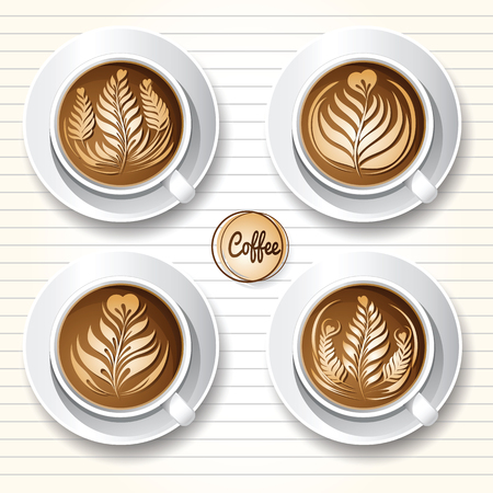 Set of latte art coffee design.