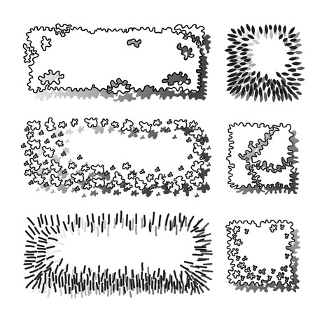 Set of trees and plant. Illustration
