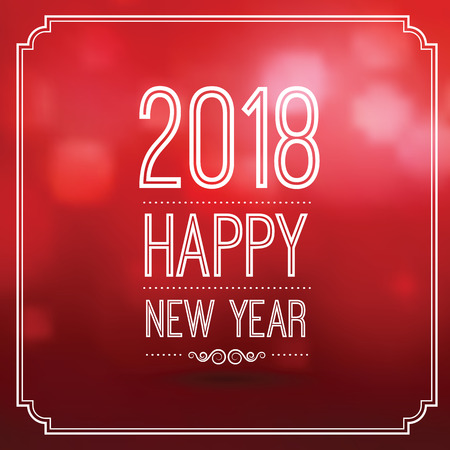 Happy new year 2018 in red bokeh pattern background with vintage frame, vector illustration