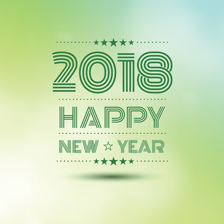 Happy new year 2018 in green bokeh pattern background, vector illustration