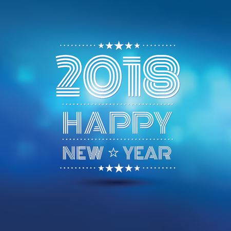 Happy new year 2018 in blue bokeh blur pattern background, vector illustration Illustration