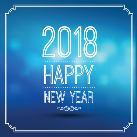 happy new year 2018 in blue bokeh pattern background with vintage frame,vector illustration