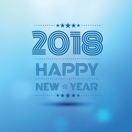 happy new year 2018 in blue bokeh blur pattern background ,vector illustration
