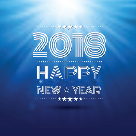 happy new year 2018 in blue glow light pattern background ,vector illustration Illustration