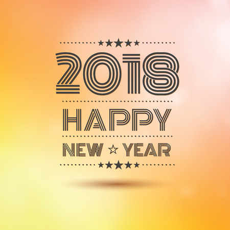 happy new year 2018 in orange bokeh pattern background with vintage frame,vector illustration