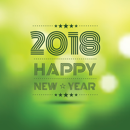 happy new year 2018 in green bokeh pattern background ,vector illustration Illustration