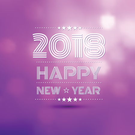 happy new year 2018 in violet bokeh blur pattern background ,vector illustration