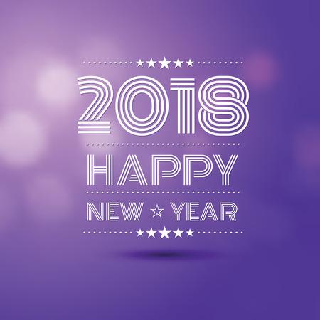 Happy new year 2018 in violet bokeh blur pattern background.
