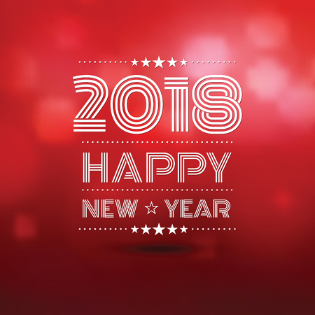 happy new year 2018 in red bokeh blur pattern background ,vector illustration