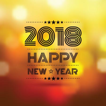 happy new year 2018 in orange bokeh blur pattern background,vector illustration Illustration