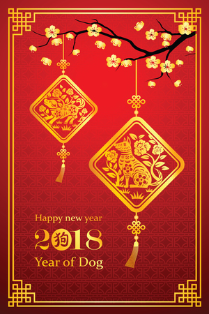 Chinese New Year 2018 card is dog in lantern and Chinese word mean dog, vector illustration.