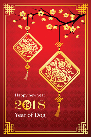 Chinese new year 2018 card is dog in lantern and Chinese word mean dog,vector illustration
