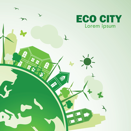 green city with green Eco Earth concept ,vector illustration Illustration