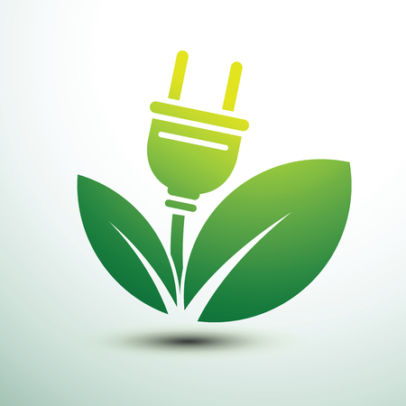 Green leaves eco power plug design illustration. Illustration
