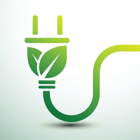 Green eco power plug design illustration.