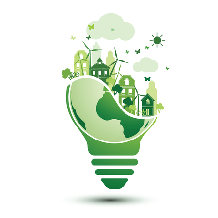Green eco city and recycle light bulb logo concept design.