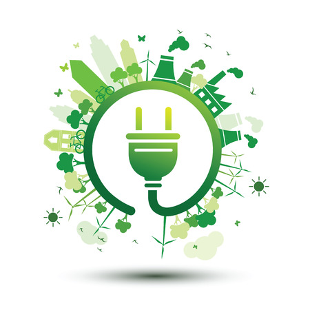 Green city sustainable nature concept with plug,vector illustration Illustration