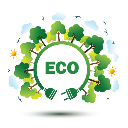 Green nature sustainable nature concept with plug, vector illustration. Illustration