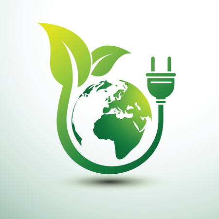 Green eco power plug design with Green earth, vector illustration.
