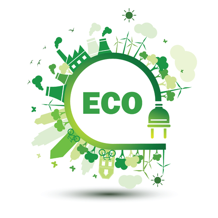 Green city sustainable nature concept with plug, vector illustration. Illustration