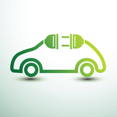Electric car concept green drive symbol, vector illustration. Illustration