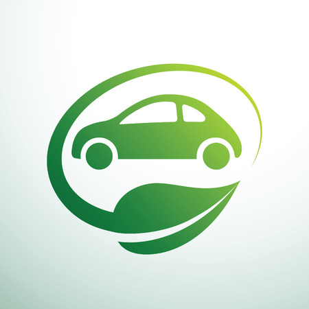 Eco car concept green drive with leaf symbol,vector illustration Illustration
