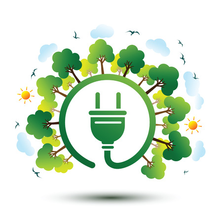 Green nature sustainable nature concept with plug,vector illustration Illustration