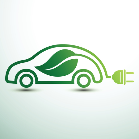 Electric car concept green drive with leaf symbol,vector illustration Illustration