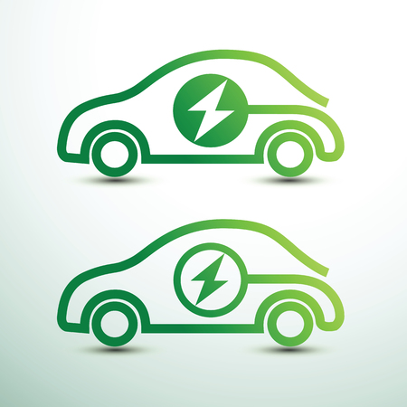 Electric car concept green drive with power symbol,vector illustration
