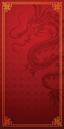 Chinese traditional template with Chinese dragon on red Background, vector illustration.