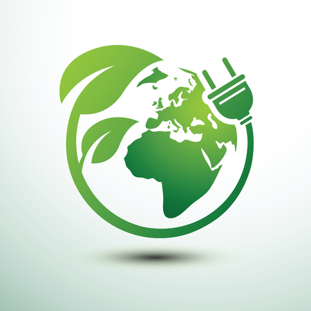Green eco power plug design with Green earth, vector illustration