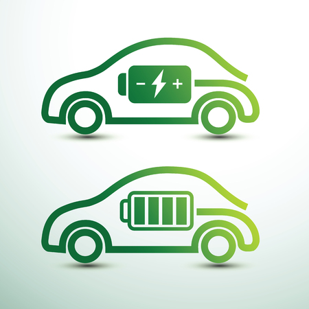 Electric car concept green drive with battery symbol,vector illustration