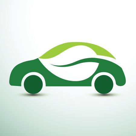 Eco car concept green drive with leaf symbol,vector illustration Illustration