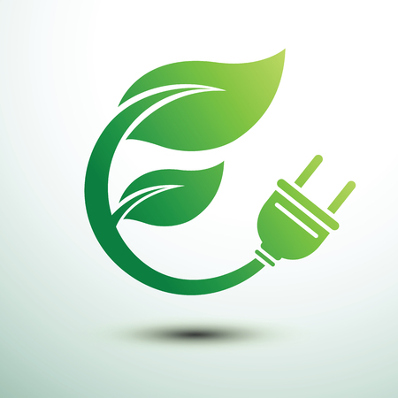 Green eco power plug design with Green leave, vector illustration