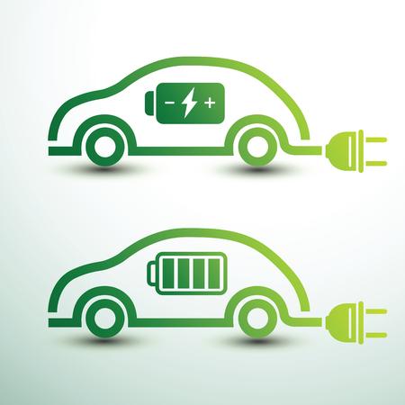 Electric car concept green drive symbol with battery,vector illustration Illustration